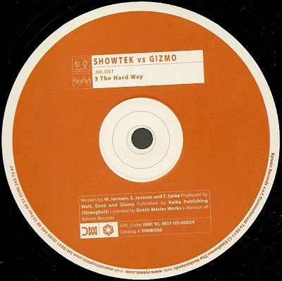 Showtek vs Gizmo 3 The Hard Way Vinyl Label